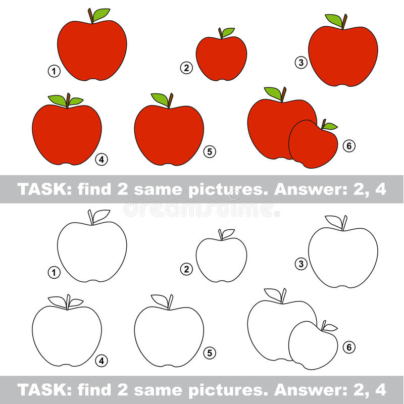 Visual game. Find hidden couple of apple royalty free illustration