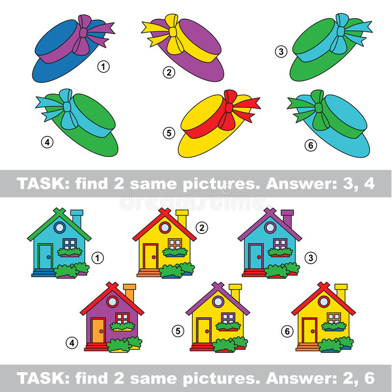 Visual game. Find hidden pair of Gift and House stock illustration