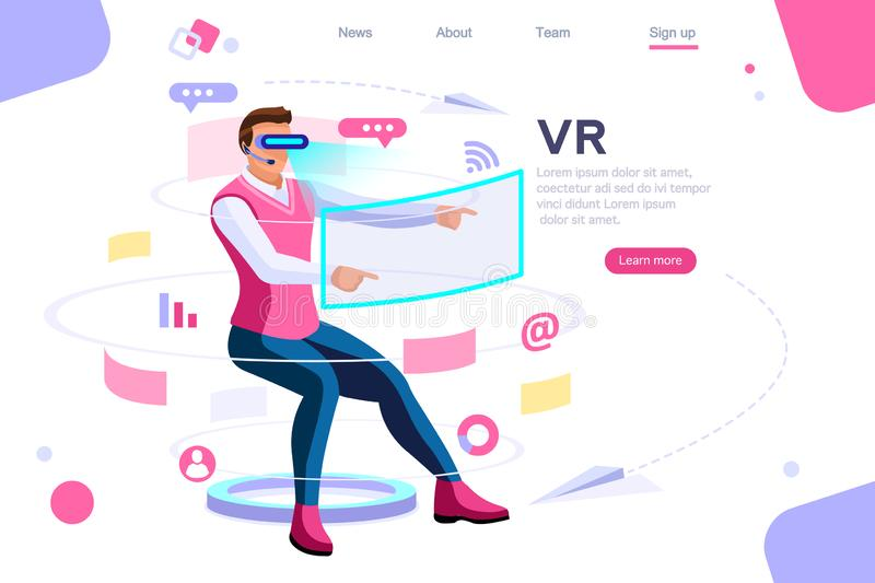 Visual Images Virtual Cyberspace Concept vector illustration