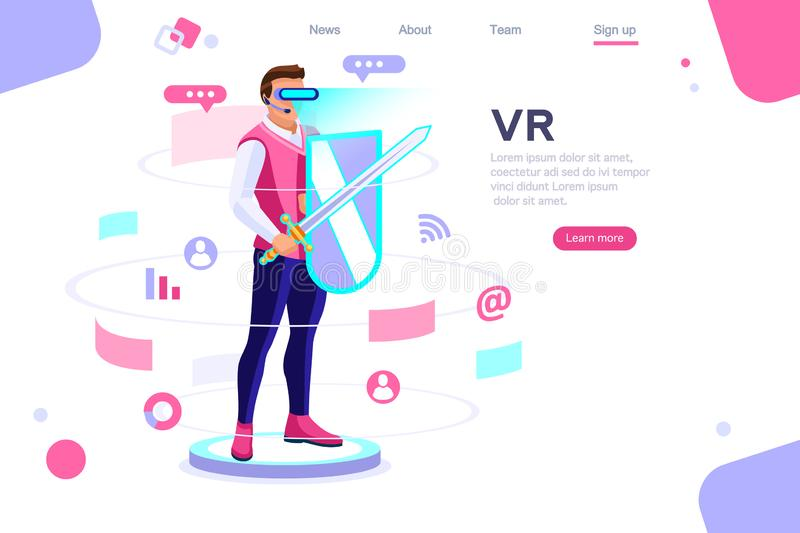 Virtual Experience View Multimedia Cyberspace Concept. Visual images, virtual experience view. Cyberspace, flat multimedia work concept. Can use for web banner vector illustration