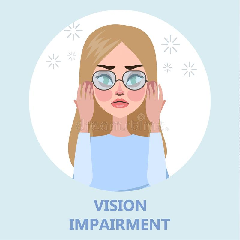 Visual impairment as a symptom of disease. Eye vision problem. Difficulty on focusing. Isolated flat vector illustration stock illustration