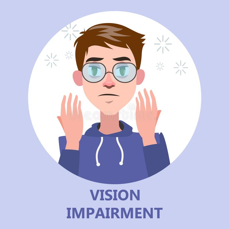 Visual impairment as a symptom of disease. Eye vision problem. Difficulty on focusing. Isolated flat vector illustration royalty free illustration