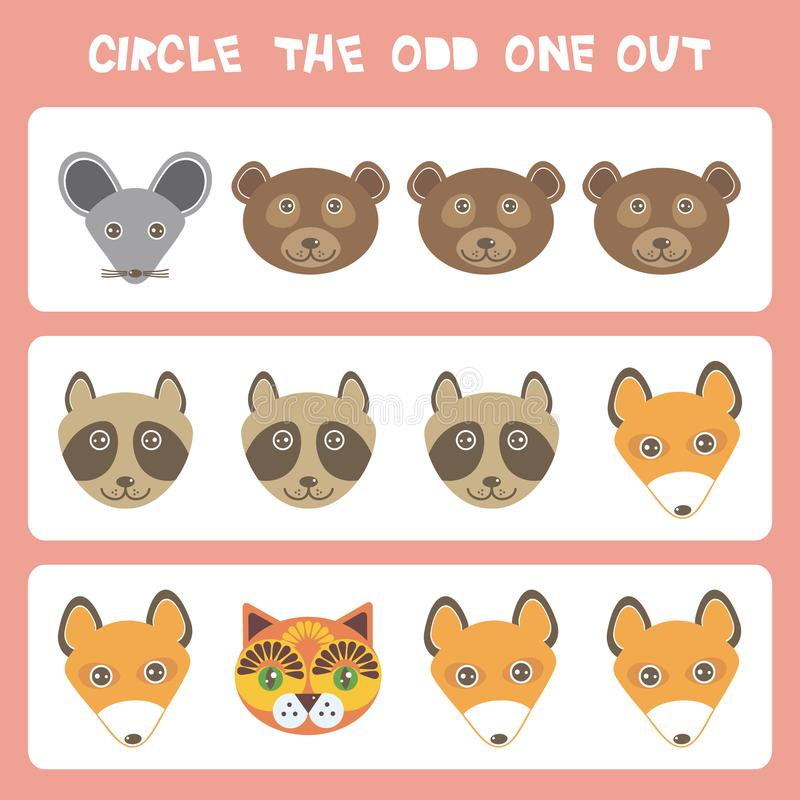 Visual logic puzzle Circle the odd one out. Kawaii animals Mouse bear raccoon fox cat, pastel colors on blue background. Vector. Illustration stock illustration