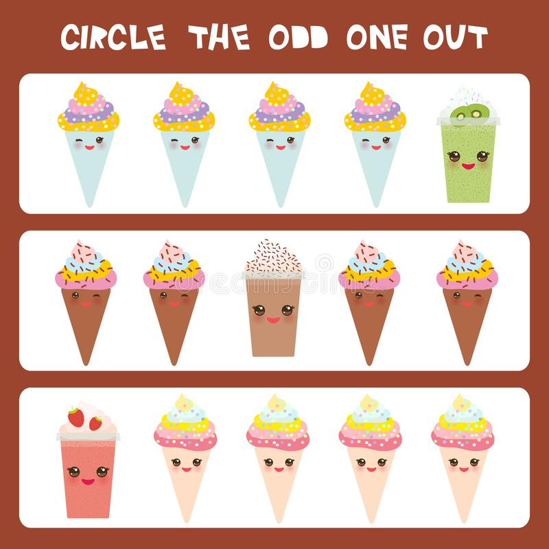 Visual logic puzzle Circle the odd one out. Kawaii colorful coffee kiwi strawberry smoothies, ice cream cone with pink cheeks and stock illustration