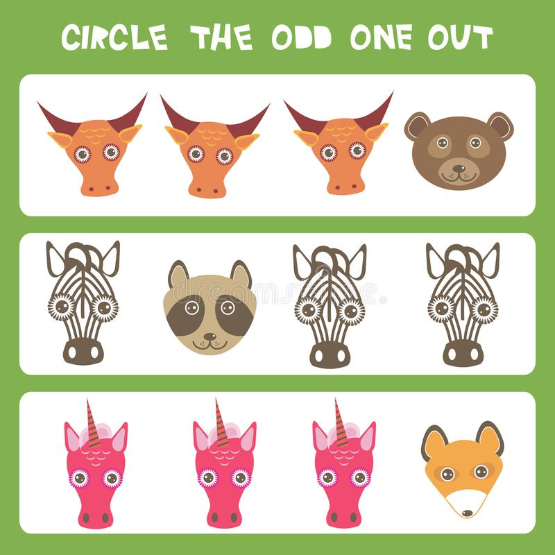 Free Visual Logic Puzzle Circle The Odd One Out. Kawaii Animals Cow Bear Raccoon Zebra Unicorn Fox, Pastel Colors On Blue Background. V Royalty Free Stock Photos - 109319758