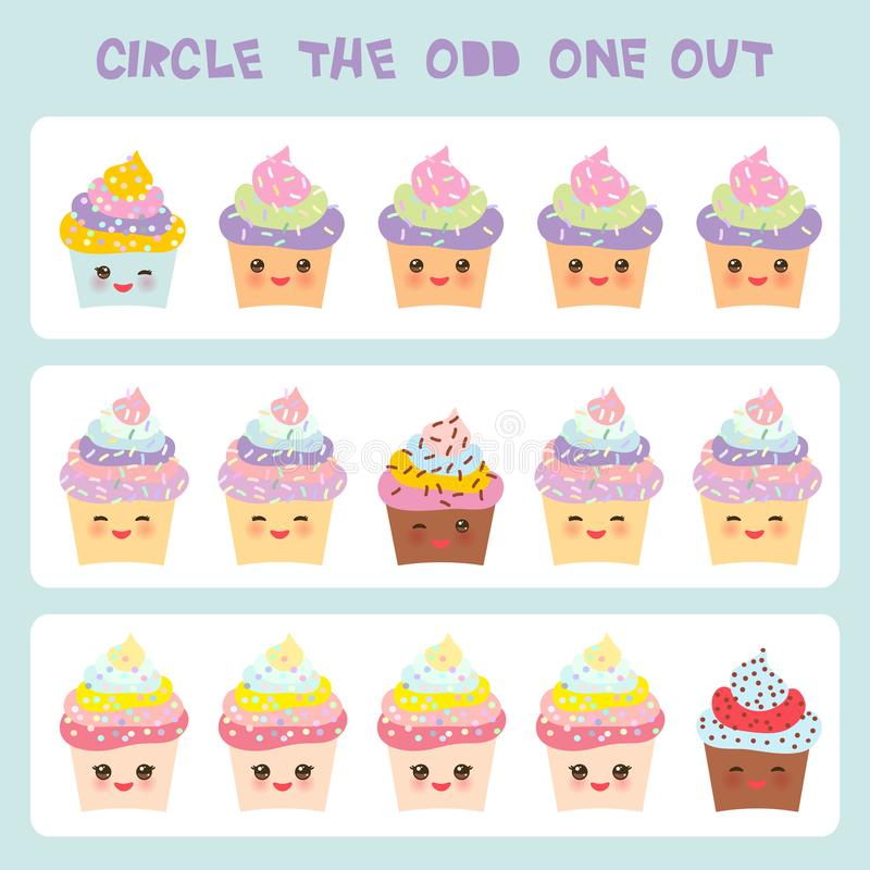 Free Visual Logic Puzzle Circle The Odd One Out. Kawaii Colorful Cupcake With Pink Cheeks And Winking Eyes, Pastel Colors On White Back Stock Photos - 108873643