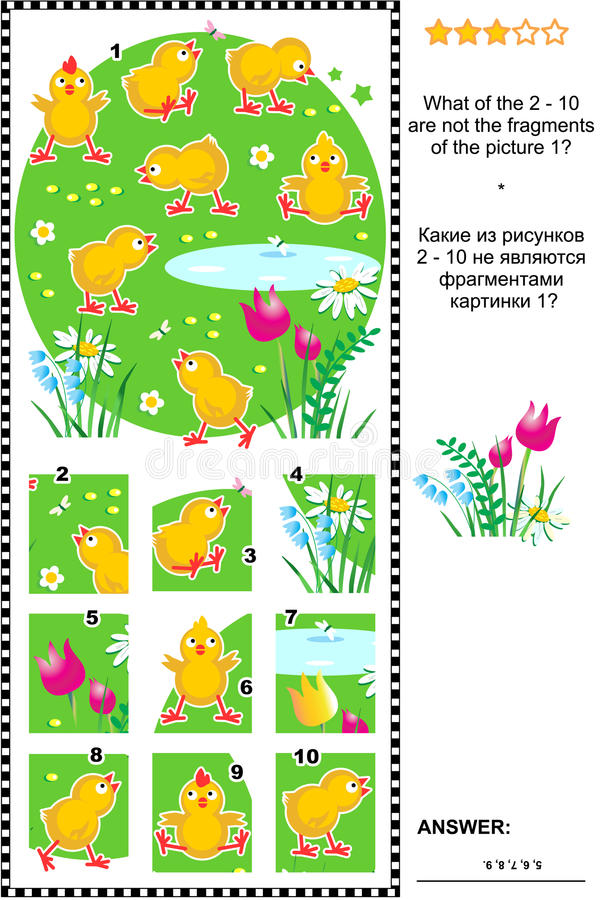 Visual logic puzzle with cute little chicks. What of the 2 - 10 are not the fragments of the picture 1? Answer included stock illustration