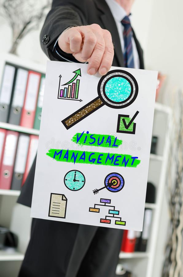 Visual management concept shown by a businessman stock images