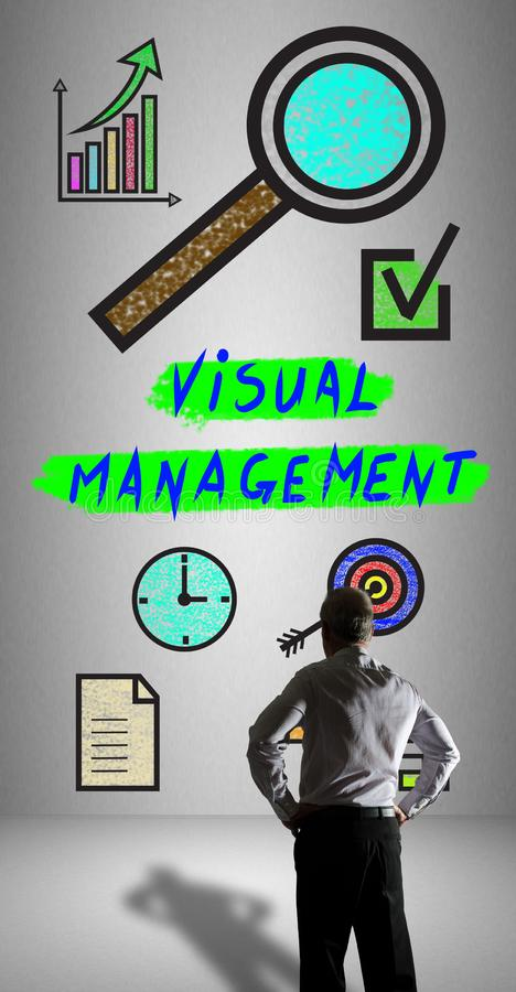 Visual management concept watched by a businessman stock illustration
