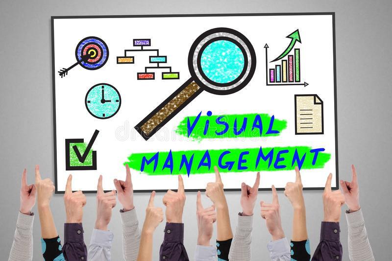 Visual management concept on a whiteboard. Pointed by several fingers royalty free illustration