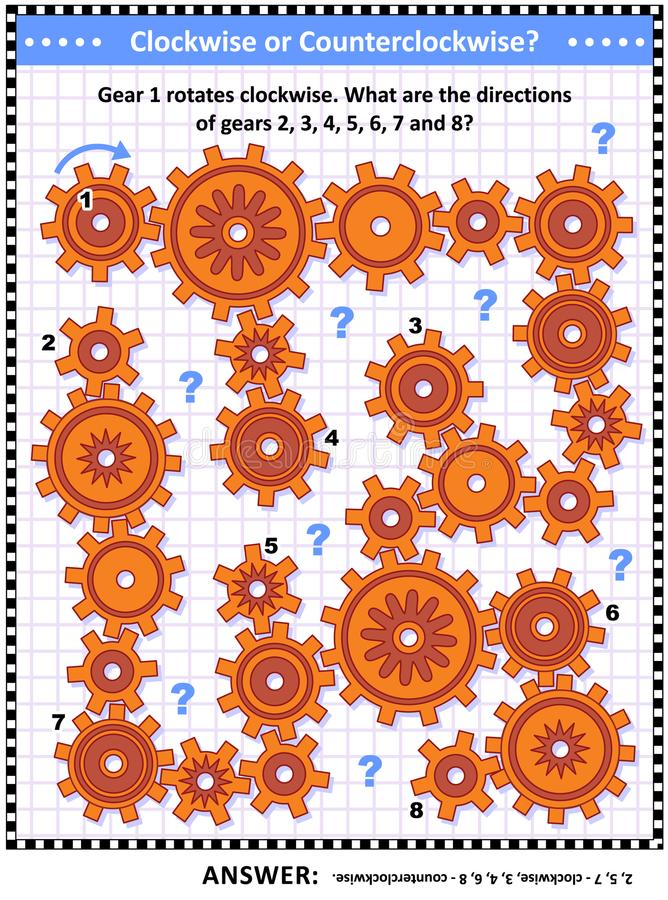 Visual mechanics or math puzzle with rotating gears. IQ and spatial skills training visual puzzle with gears rotating clockwise and counterclockwise. Answer vector illustration