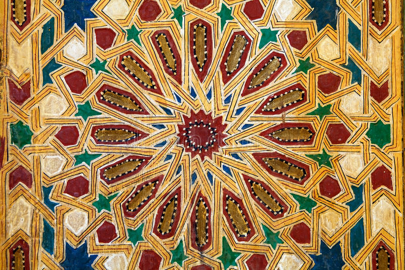 Visual pattern decoration. In the Mosque of Tamegroute. Tamegroute is a village in the south of Morocco, in the valley of the Draa River. It has a history as an royalty free stock image