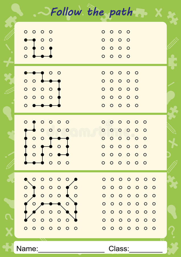 Visual Perceptual Worksheets, Follow The Path, Copy Pattern Stock ...