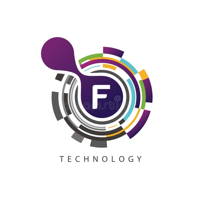 Visual pixel techno F Letter Logo royalty free illustration