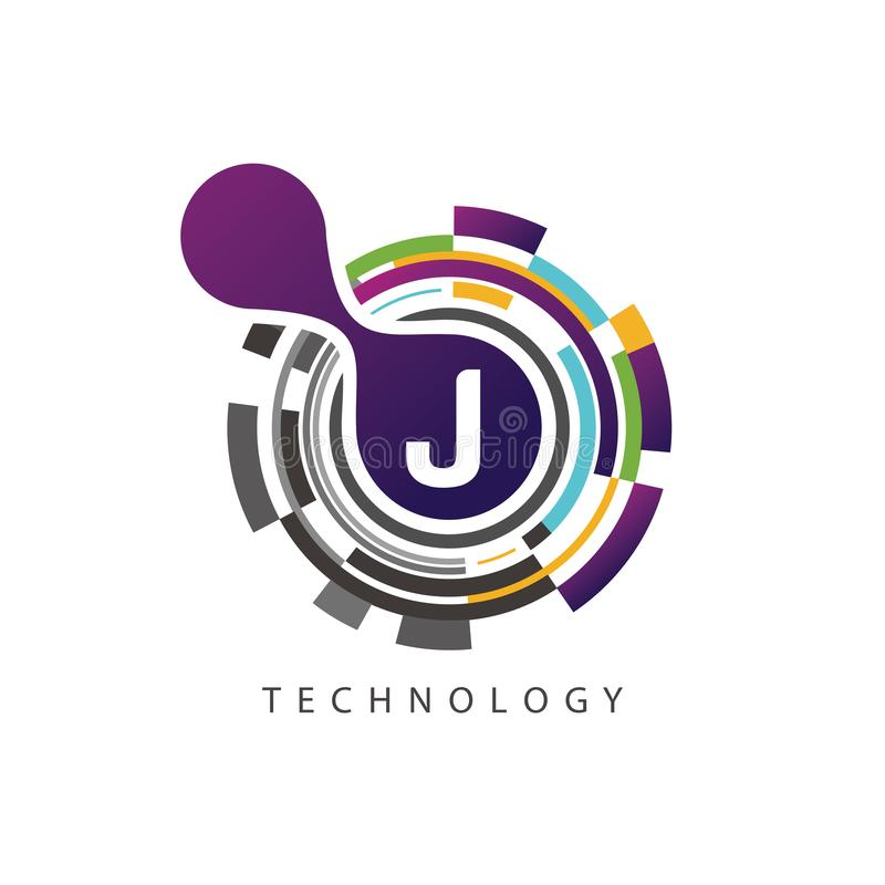Visual pixel techno J Letter Logo stock illustration
