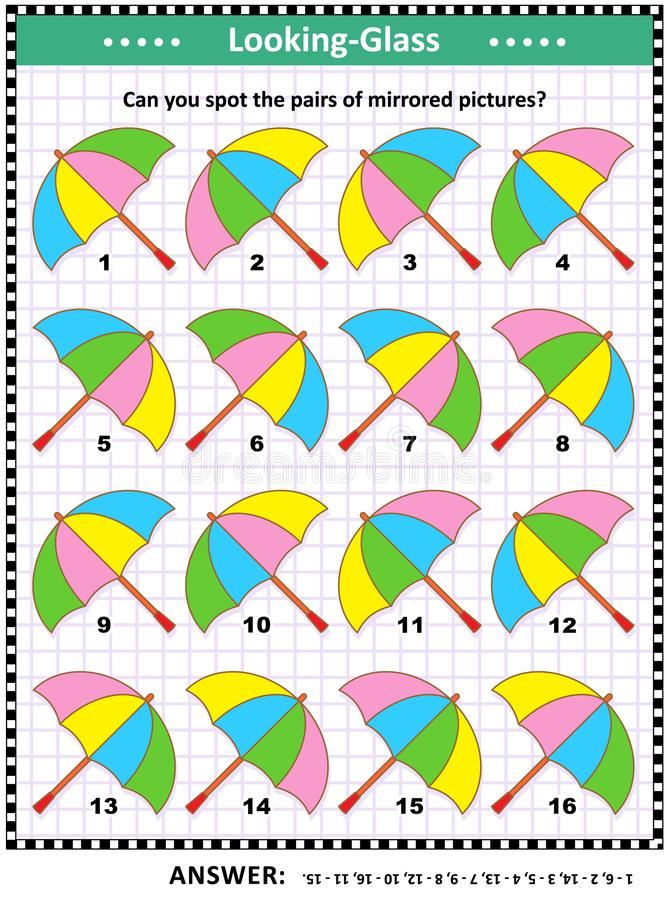 Visual puzzle with colorful umbrellas. IQ, memory and spatial skills training visual abstract puzzle with colorful umbrellas: Can you spot the pairs of mirrored royalty free illustration