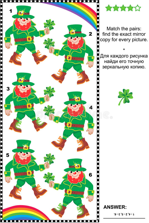 Visual puzzle: find the mirrored copy for every leprechaun picture royalty free illustration