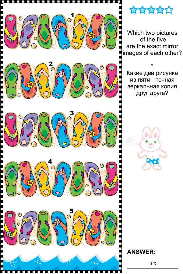Free Visual Puzzle - Find Two Mirrored Copies Of Flip-flops Rows Stock Photo - 55337480