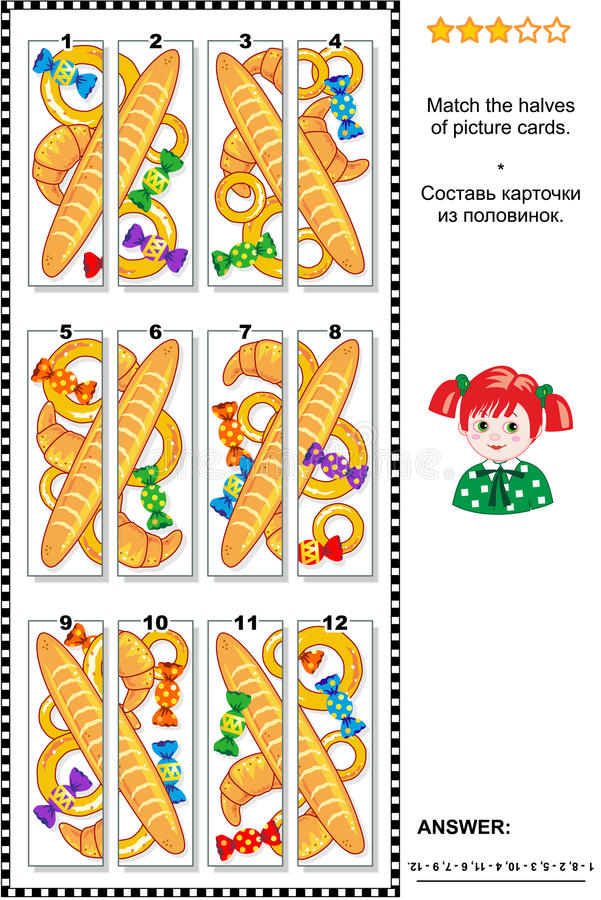 Visual puzzle - match the halves - baked goods and candies. Visual puzzle: Match the halves of cards with various baked goods and colorful candies. Answer vector illustration