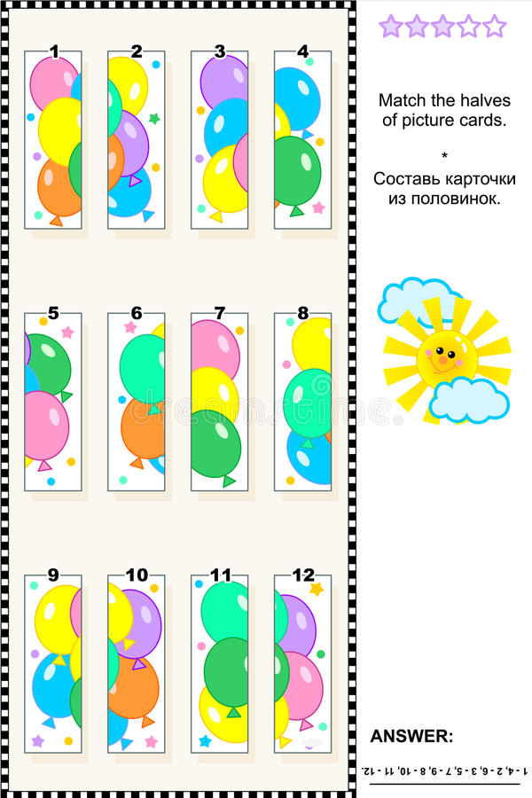 Visual puzzle - match the halves - colorful balloons vector illustration
