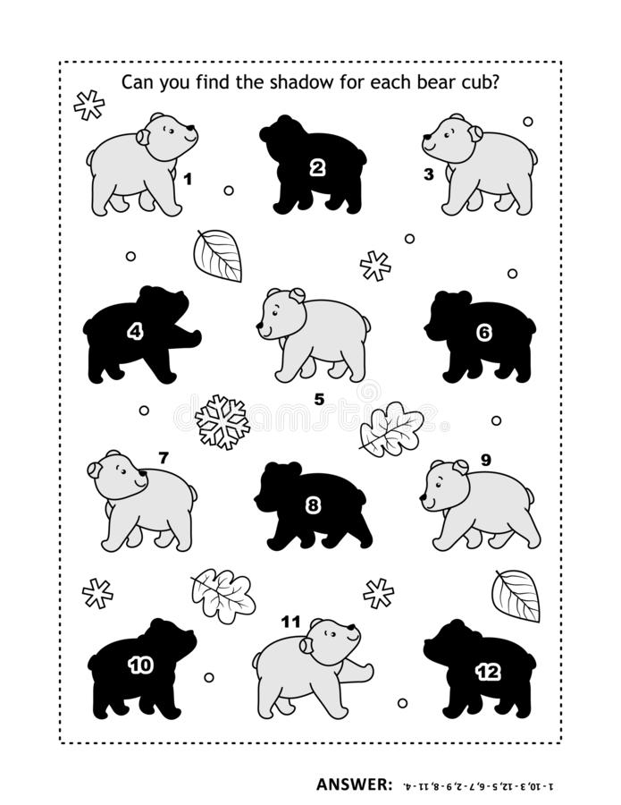 Shadow game with bear cubs. Visual puzzle or picture riddle with  bear cubs: Can you find the shadow for each picture? Answer included vector illustration