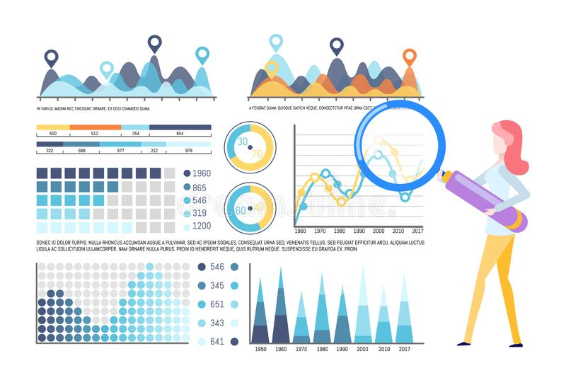 Visual Representation of Business Analysis Diagram. Infographics and infocharts vector, editable info representation. Woman working with tool, investigating stock illustration