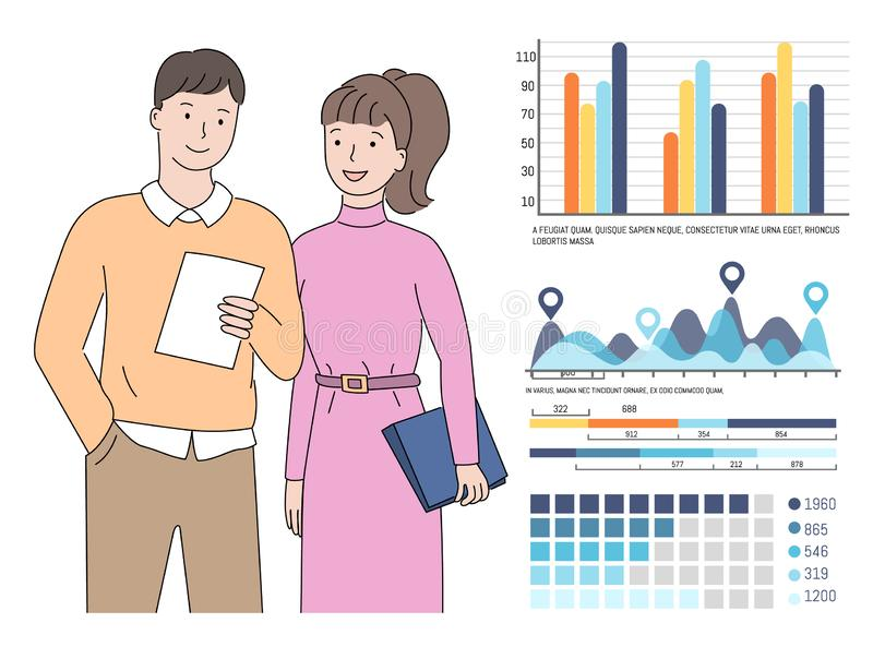 Visual Representation and People Working in Team. Teamwork analysis on business project results vector, man and woman looking at document, report in hands of stock illustration