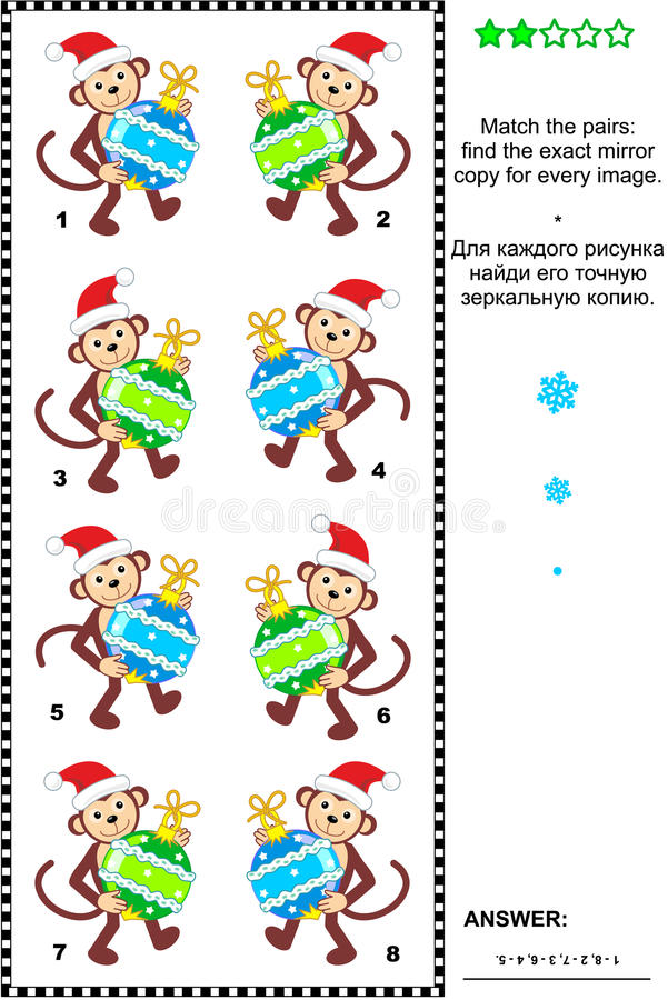 Visual riddle with christmas monkeys and baubles stock illustration