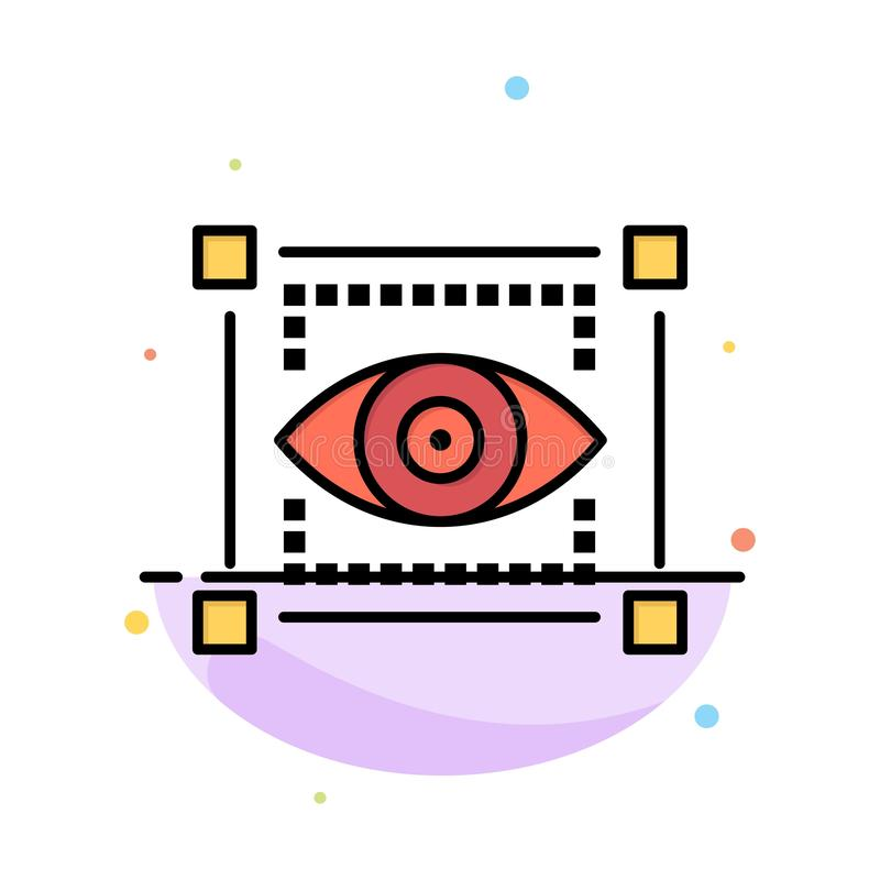 Visual, View, Sketching, Eye Abstract Flat Color Icon Template vector illustration