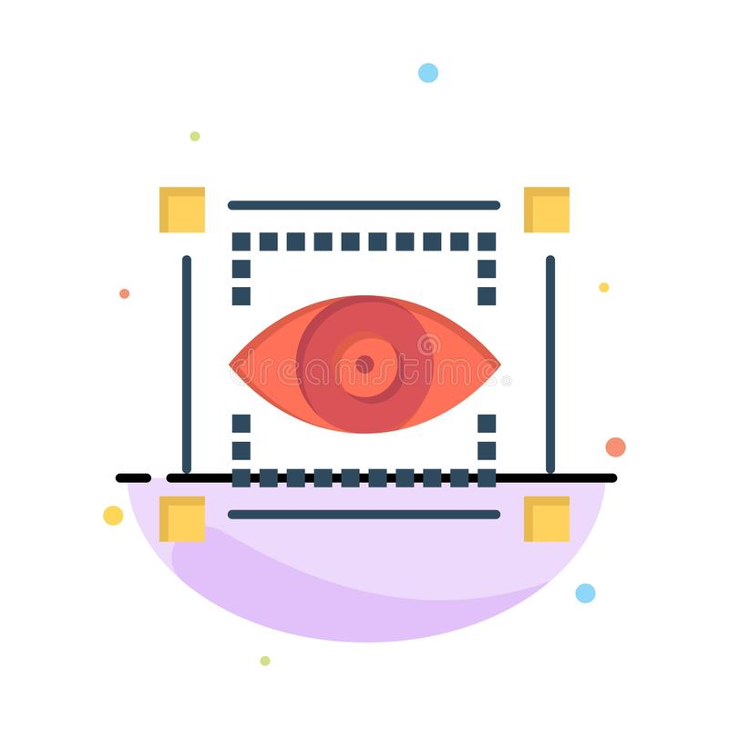 Visual, View, Sketching, Eye Abstract Flat Color Icon Template stock illustration