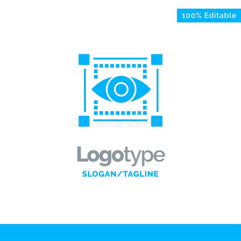 Visual, View, Sketching, Eye Blue Business Logo Template vector illustration