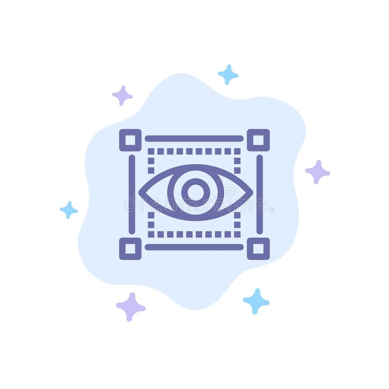 Visual, View, Sketching, Eye Blue Icon on Abstract Cloud Background royalty free illustration