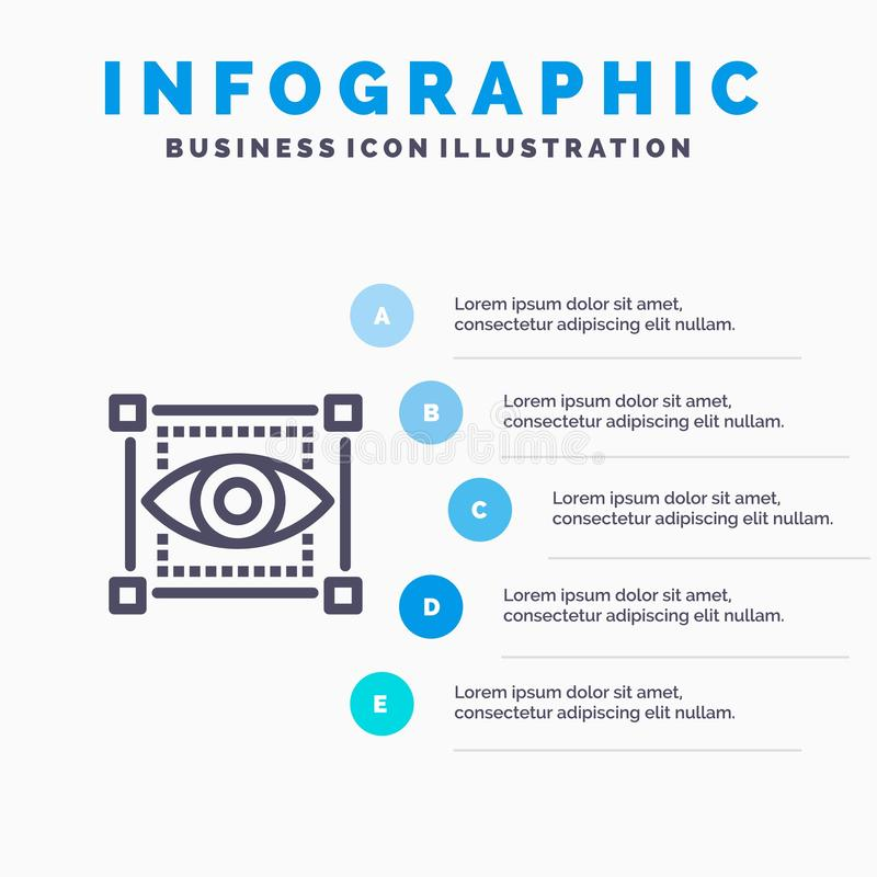 Visual, View, Sketching, Eye Blue Infographics Template 5 Steps. Vector Line Icon template vector illustration