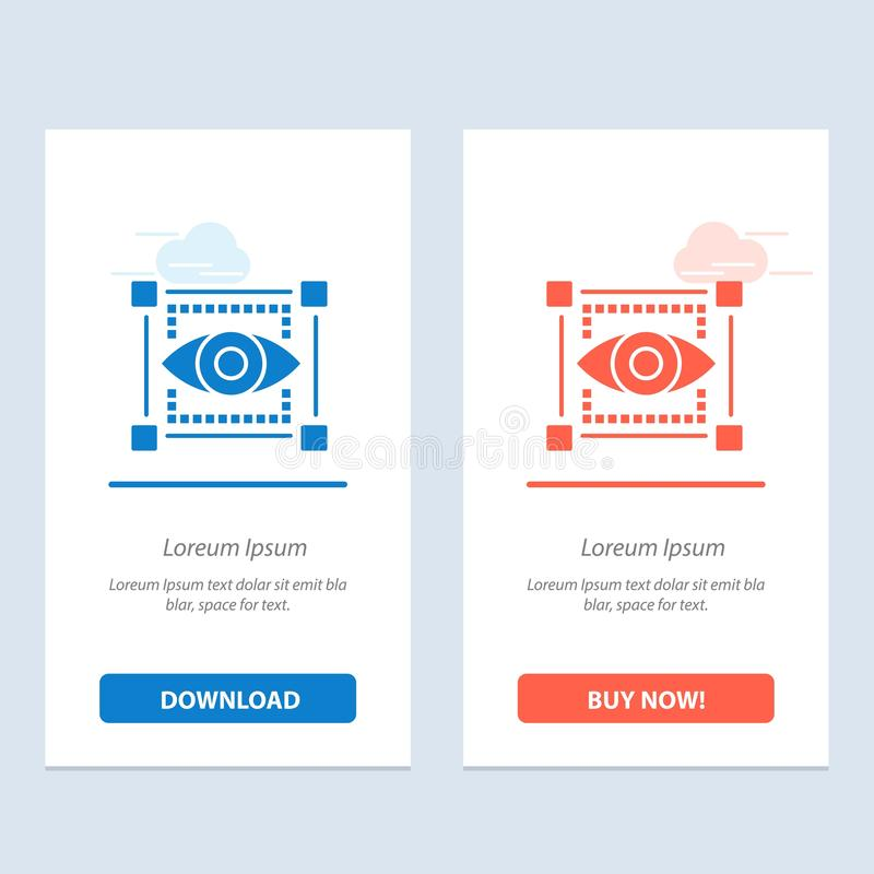 Visual, View, Sketching, Eye  Blue and Red Download and Buy Now web Widget Card Template royalty free illustration