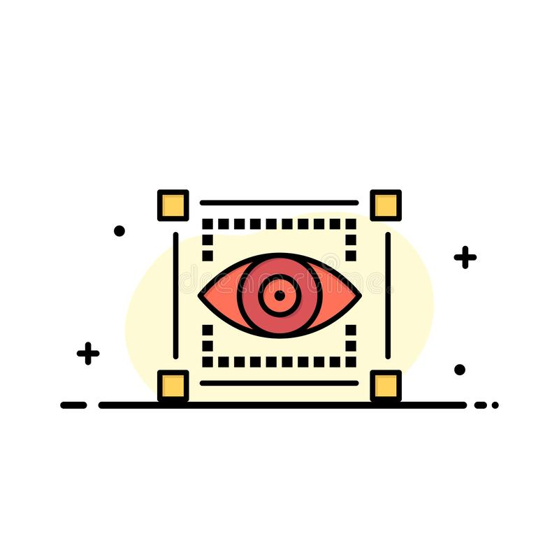 Visual, View, Sketching, Eye Business Logo Template. Flat Color vector illustration