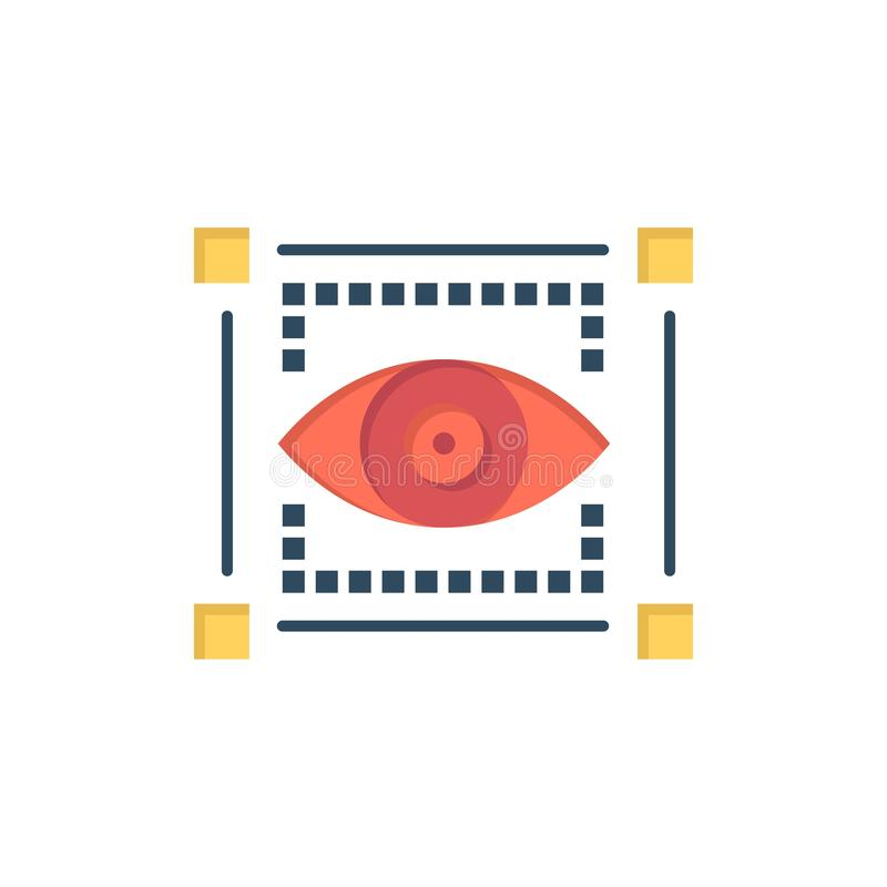 Visual, View, Sketching, Eye  Flat Color Icon. Vector icon banner Template royalty free illustration
