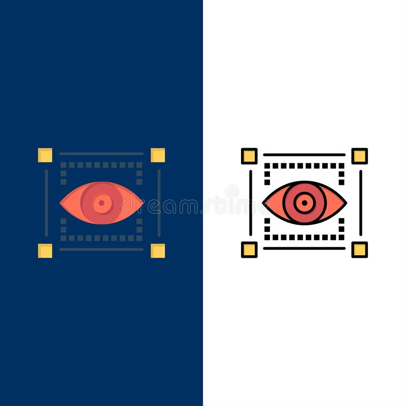 Visual, View, Sketching, Eye  Icons. Flat and Line Filled Icon Set Vector Blue Background royalty free illustration