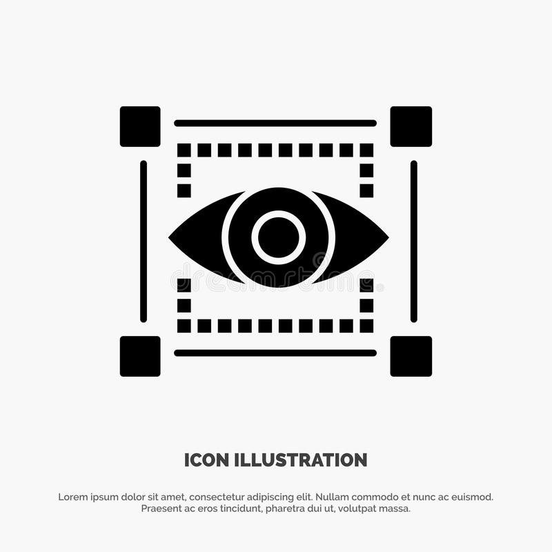 Visual, View, Sketching, Eye Solid Black Glyph Icon vector illustration