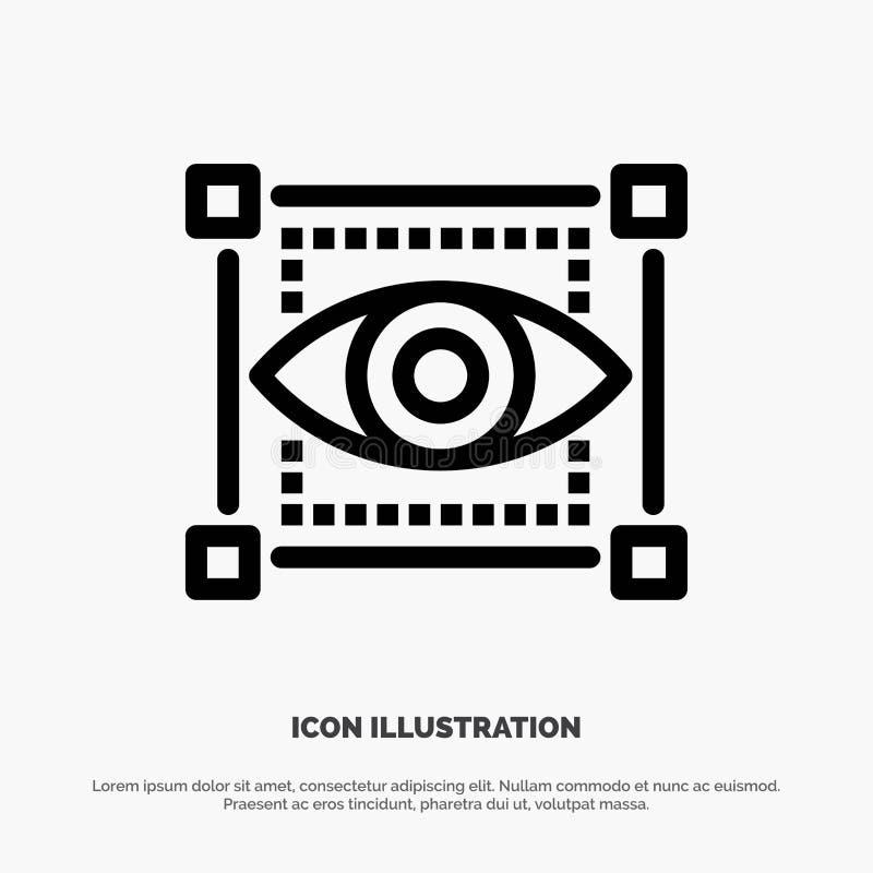 Visual, View, Sketching, Eye Vector Line Icon vector illustration
