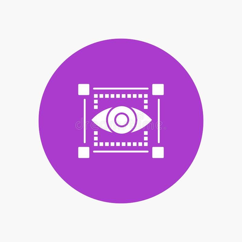 Visual, View, Sketching, Eye white glyph icon stock illustration