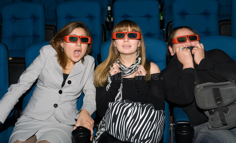 Visualisateurs de la salle de cinéma 3D photographie stock libre de droits