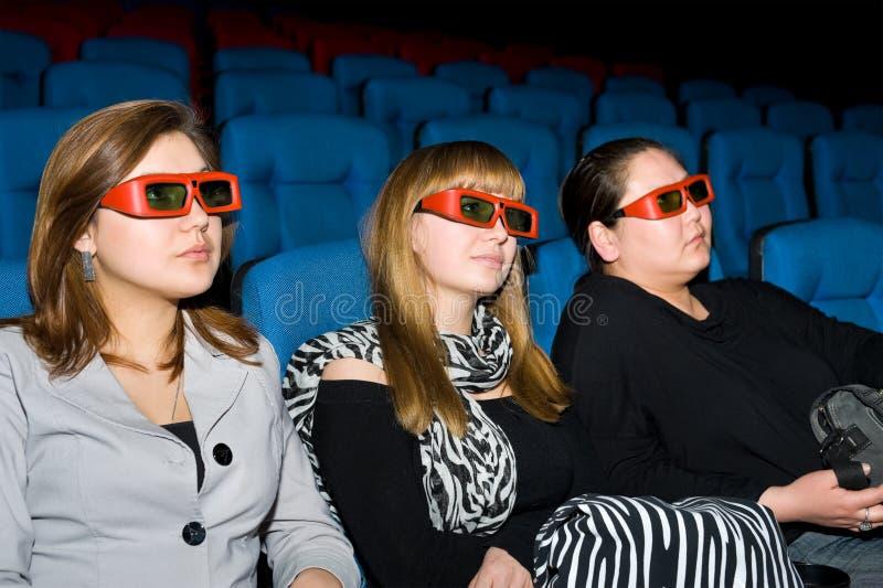 Visualisateurs de la salle de cinéma 3D photo libre de droits