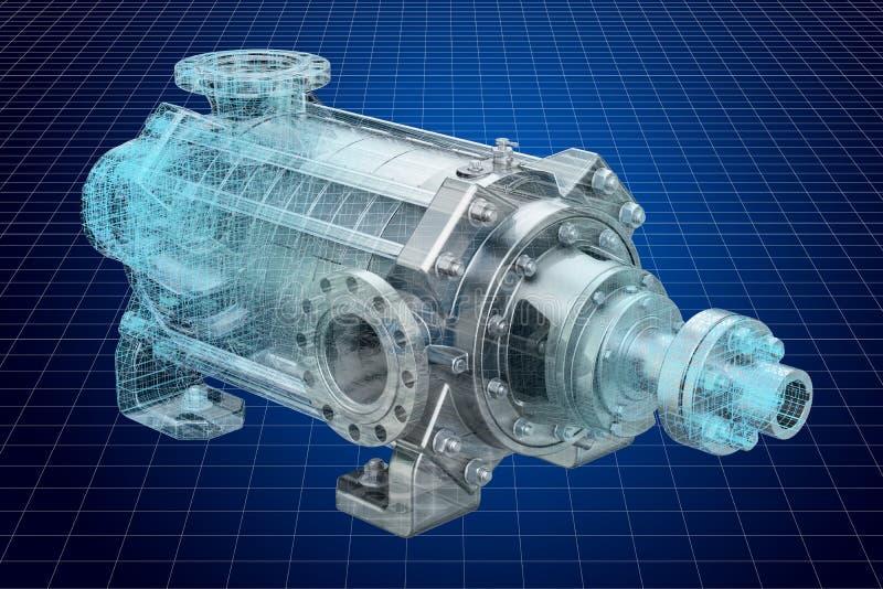 Visualisatie 3d cad model van centrifugaalpomp, het 3D teruggeven vector illustratie