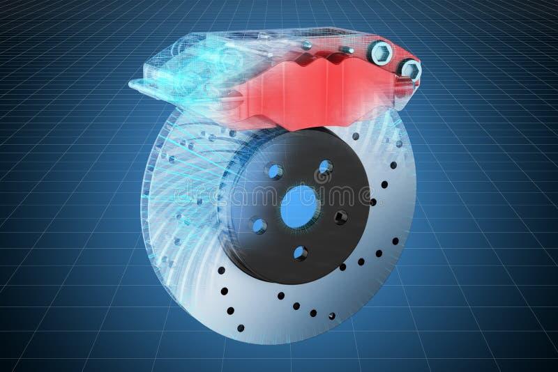 Visualisatie 3d cad model van de rem van de autoschijf met beugel, blauwdruk het 3d teruggeven stock illustratie