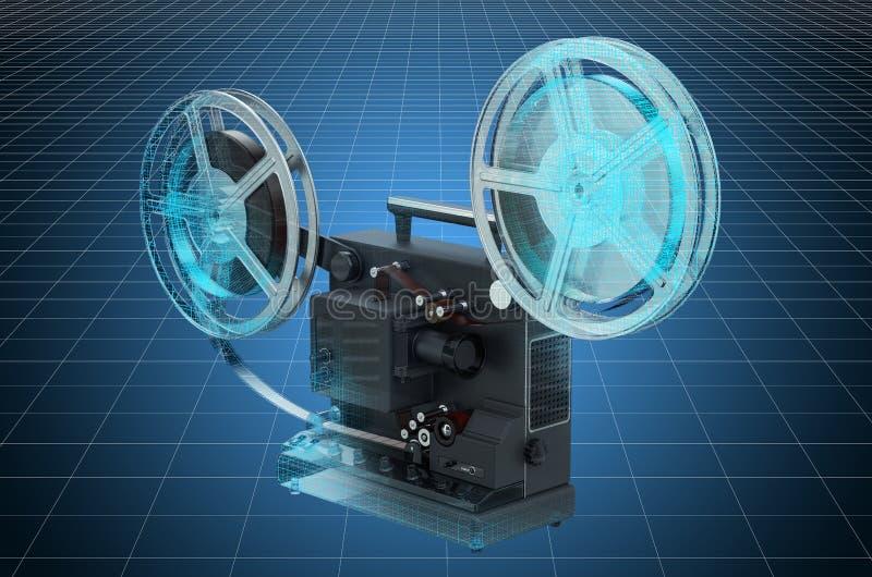 Visualisatie 3d cad model van retro bioskoopprojector, blauwdruk het 3d teruggeven vector illustratie
