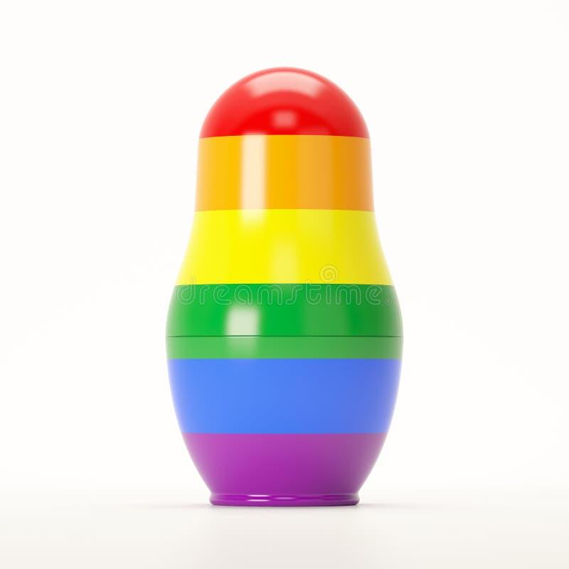 Visualisatie van het nestelen pop in LGBT-de kleuren die van de regenboogvlag wordt geschilderd royalty-vrije stock foto's