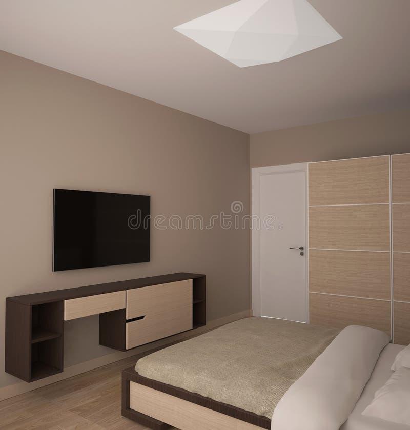 visualisation 3D d'une conception intérieure de chambre à coucher photos stock
