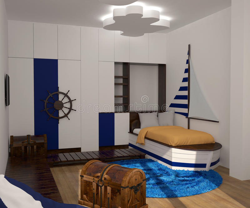 visualisation 3D d'une conception intérieure de chambre à coucher d'enfant image stock