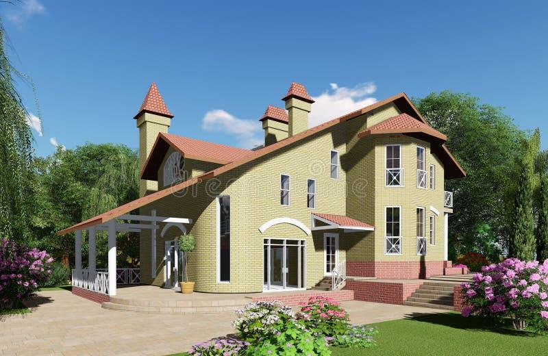 visualisation 3d La maison est à l'arrière-plan d'un beau photographie stock libre de droits