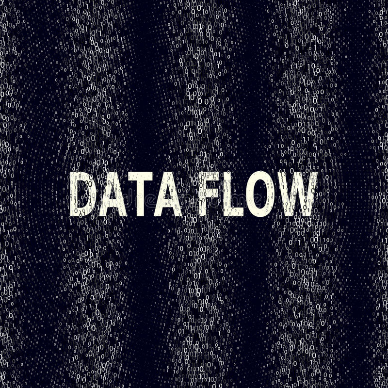 Visualisation de code binaire dans le train de données de données Cryptographie, bitkoin, entaillant, l'information Vecteur Le co illustration de vecteur